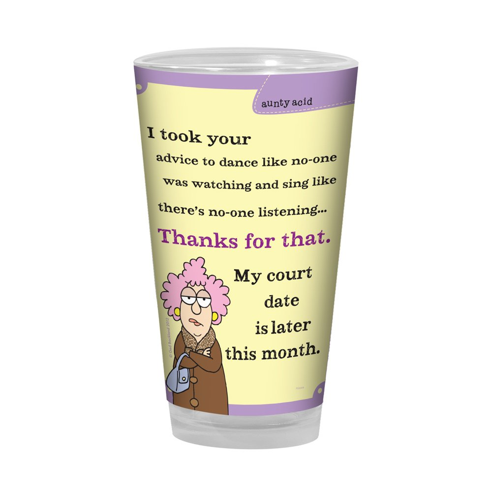 Tree-Free Greetings PG02858 Aunty Acid Artful Alehouse Pint Glass, 16-Ounce, Court Date