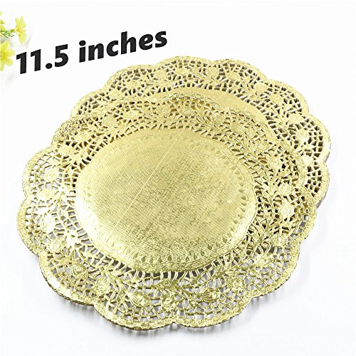 (100 pieces/pack) Beautiful 11.5 inches gold colored round paper lace doilies cupcake bread placemats DIY bakeware cake tools (Bread Gold Lace)