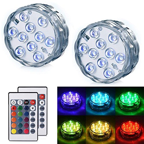 Lyyes Submersible LED Lights Underwater Led Lights Waterproof Colorful Pond LED Lights for Hot Tub,Aquarium, Vase Base, Pond, Swimming Pool (2pack) by Lyyes