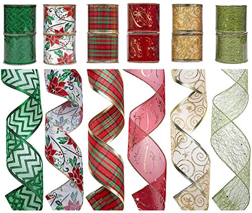 SANNO 12 Rolls Christmas Ribbon, Assorted Plaid Sparkling Decorations Wired Sheer Glitter Tulle Ribbon 36 Yards (2.5