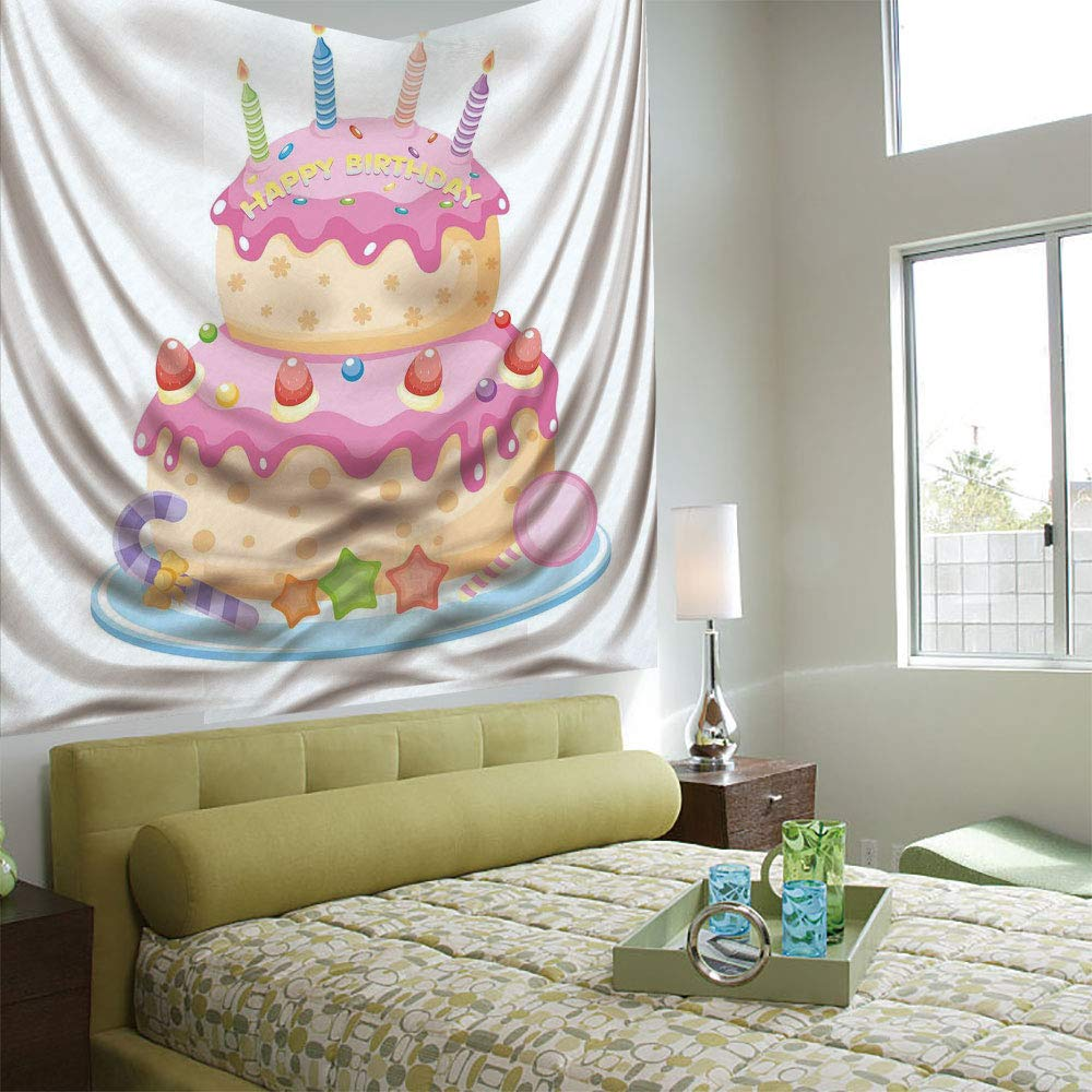 Wall Tapestry Decorative Art Prints can be Hung on The Bedside of Dormitory,Birthday Decorations for Kids,Pastel Colored Birthday Party Cake with Candles and Candies,Light Pink
