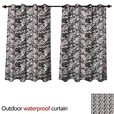 cobeDecor Flamingo Outdoor Curtain for Patio Artistic Orchid Palm