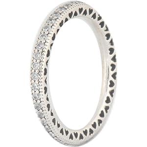 abd9d3974 Amazon.com: PANDORA Hearts of PANDORA Ring, Clear CZ 190963CZ-56 EU ...