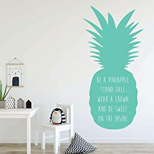 CustomVinylDecor - Pineapple Wall Decor - Be A Pineapple Stand Tall - With Hawaiian Tropical Pineapple Design - Pineapple Removable Sticker -Teen Girl Bedroom Decoration - Home Decor Decal for Bedroom, Playroom, Family Room, or Office