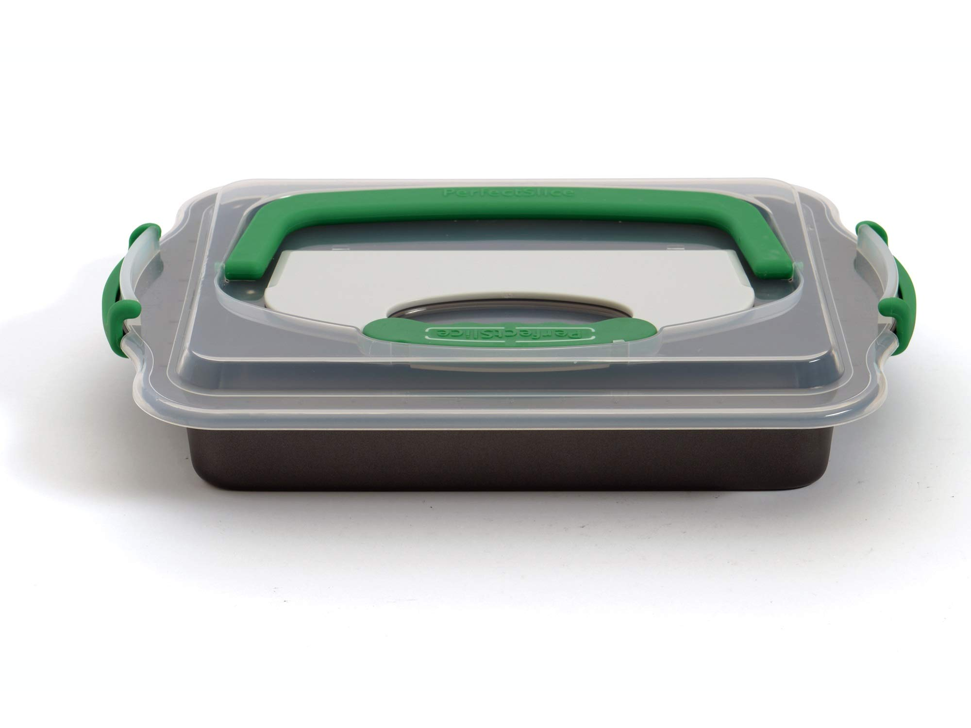 BergHOFF Perfect Slice 9'' x 13' Inch Cake Pan With Cover and Perfect Slicing Tool. Creates Perfect Portions Of Your Baking And Holiday Dishes. Perfect Portions For All Of Your Family Desserts