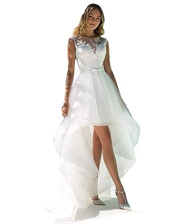 farblich passend Entdecken bester Service NUOJIA Damen Spitze Hochzeitskleider Standesamt Hohen Tief Boho Böhmischen  Brautkleider Strand