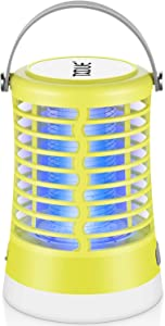 TXDUE Bug Zapper Light Bulb 2 in 1 for Outdoor and Indoor, Electronic Mosquito Killer, Cordless, Waterproof, Portable Rechargeable Camping Lantern for Camping Home Garden