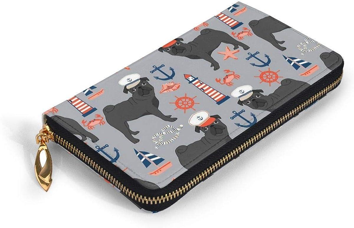 Black Pug Womens RFID Blocking Zip Around Wallet Genuine Leather Clutch Long Card Holder Organizer Wallets Large Travel Purse