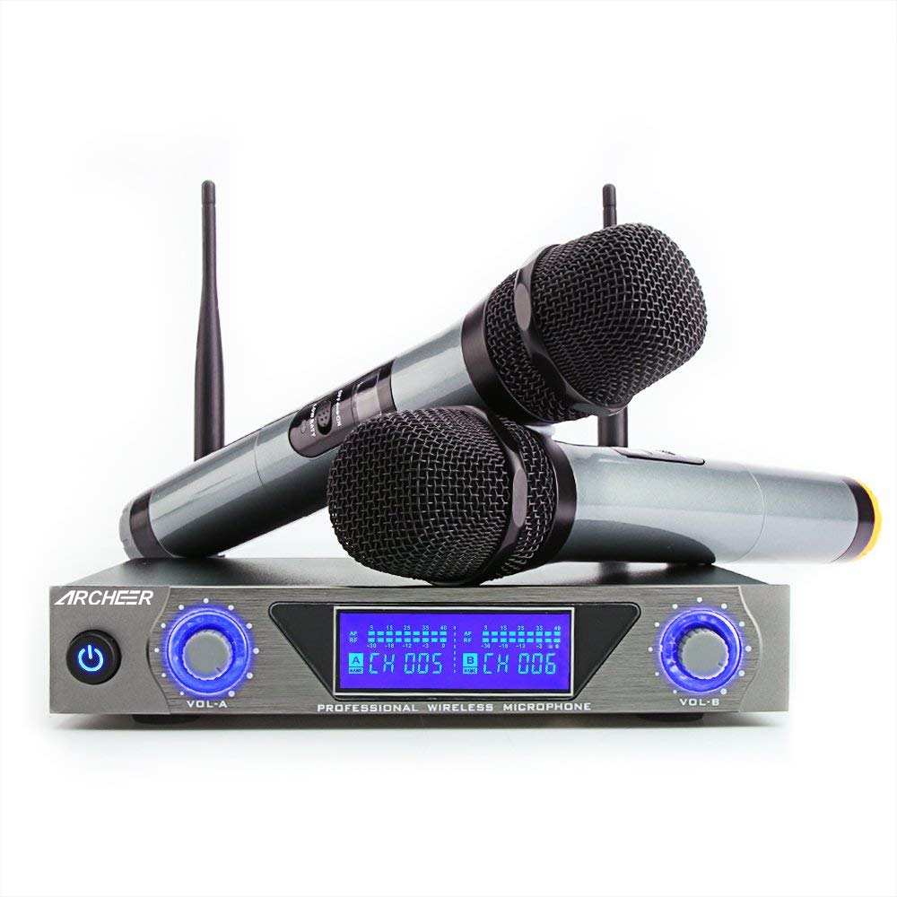 ARCHEER UHF Wireless Microphone System with LCD Display Dual Channel Handheld Karaoke Microphones Set for Outdoor Wedding, Conference, Karaoke, Evening Party, Singing by ARCHEER