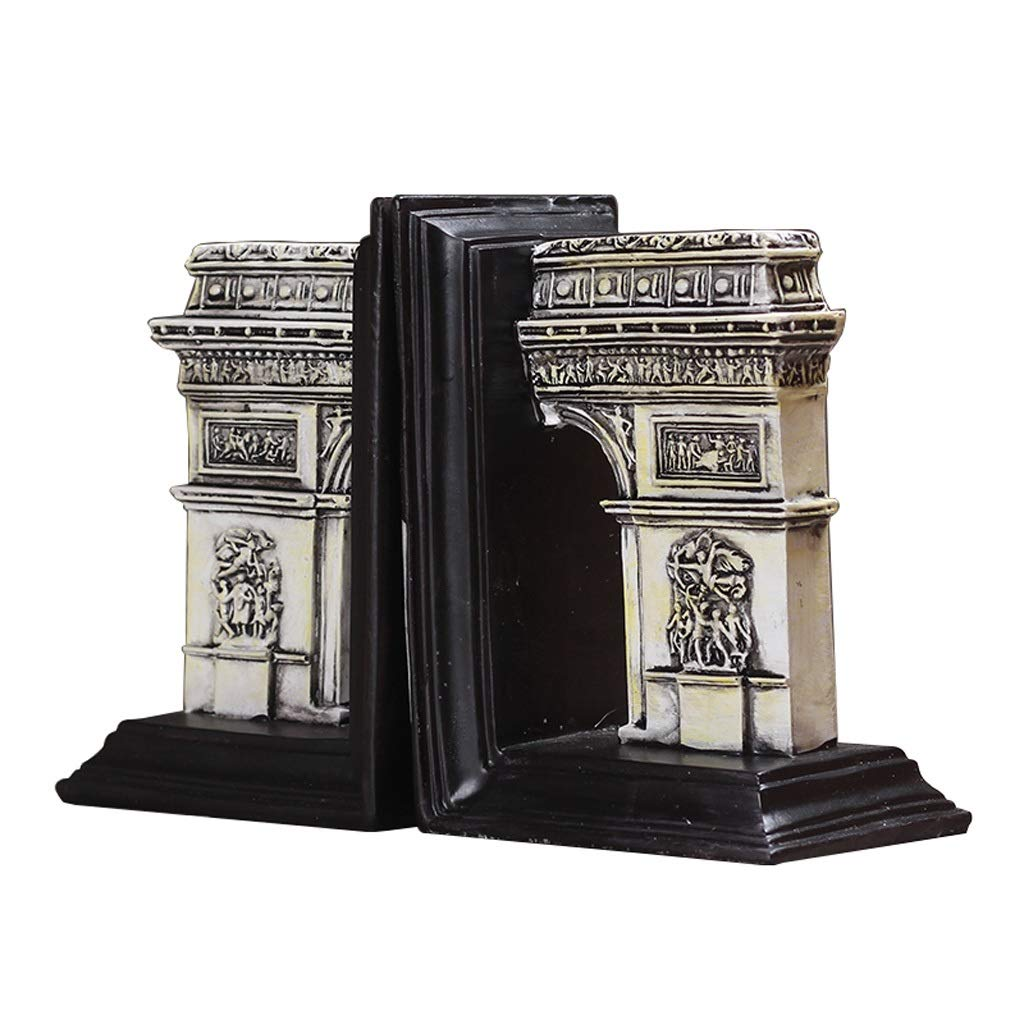 Liudan Bookends Nonskid Bookends Roman Ancient Architecture Arc De Triomphe Bookends Decorative Bookshelves Decor Gift 1 Pair Bookends Decorative by Liudan