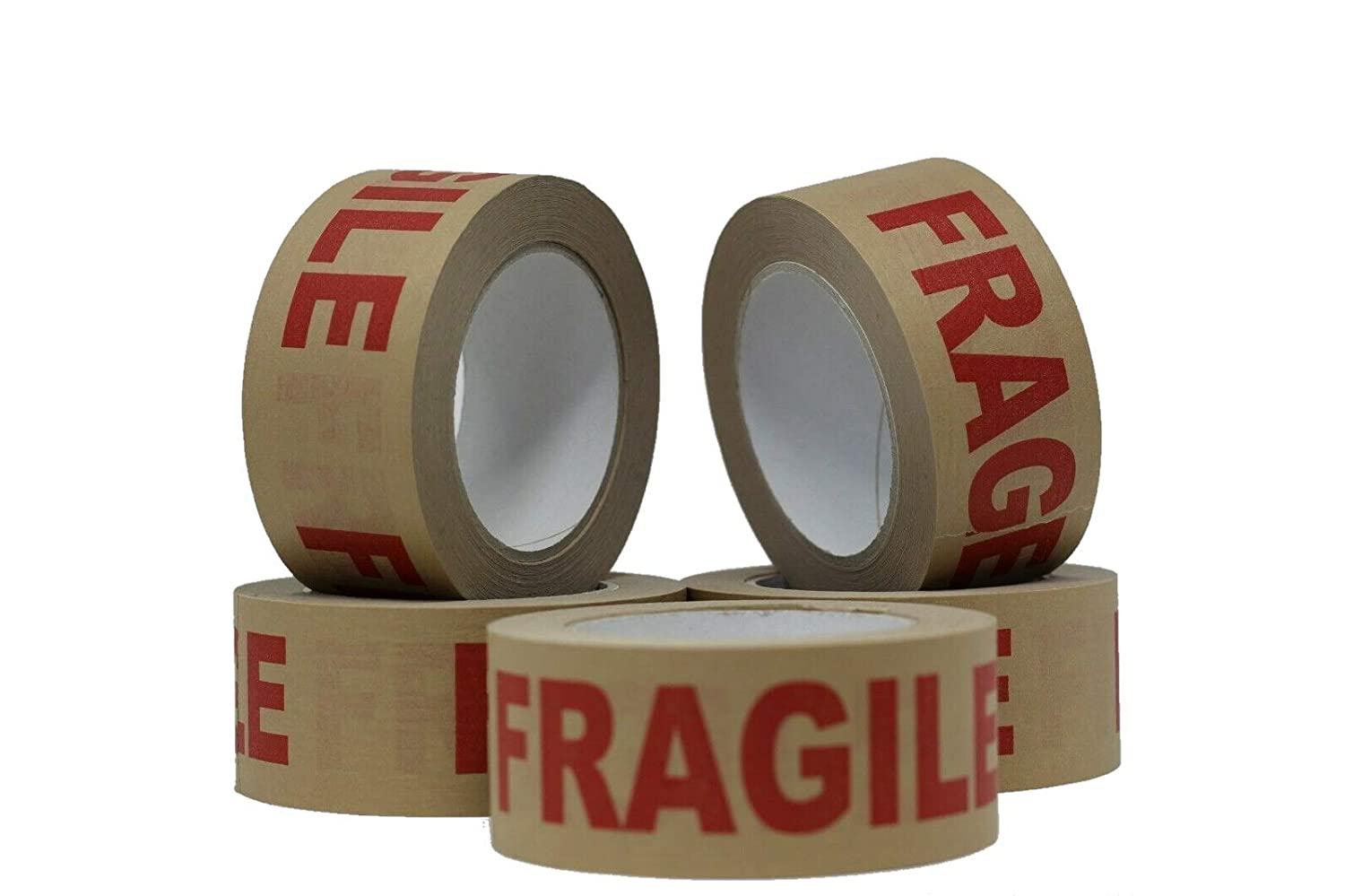 6 BIG ROLLS STRONG FRAGILE PRINTED PACKING PARCEL TAPE 48mm x 66m LOW NOISE
