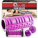 Yoga EVO Foam Roller Bundle - 2 Massage Balls and Foot Massager Stick - 13'' Textured High Density Roller