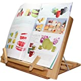 Pezin & Hulin Bamboo Book Stand, Adjustable Reading Cookbook Recipe Holder Tray with Page Paper Clips, Foldable Tablet or iPad, iPhone Cell Phone, Laptop Stands