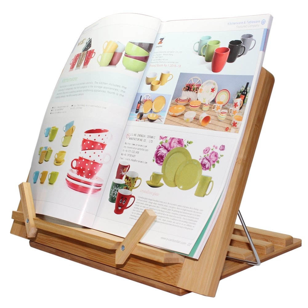 Pezin & Hulin Bamboo Book Stand, Adjustable Reading Cookbook Recipe Holder Tray with Page Paper Clips, Foldable Station for Tablets, Cell Phones, Laptop Stands