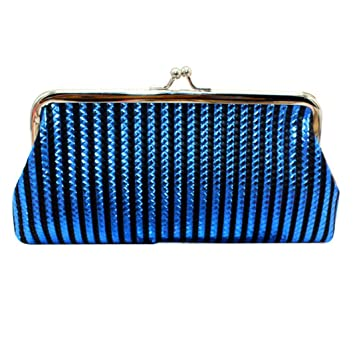 Blue Striped Coin Pouch