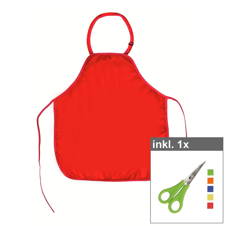 Werkenschürze für Kinder 45 x 52 cm rot inkl. Schere, Material: 100% Polyester, Malschürze, Bastelschürze, Kinderschürze, Schulschürze, Bastelschere Malschürze Bastelschürze Kinderschürze Schulschürze