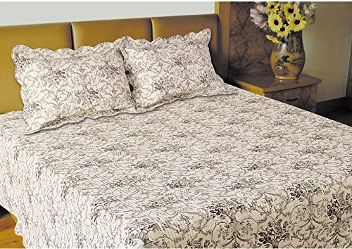 J & J Twin Toile Quilt with pillow Sham, Standard, Dark Brown