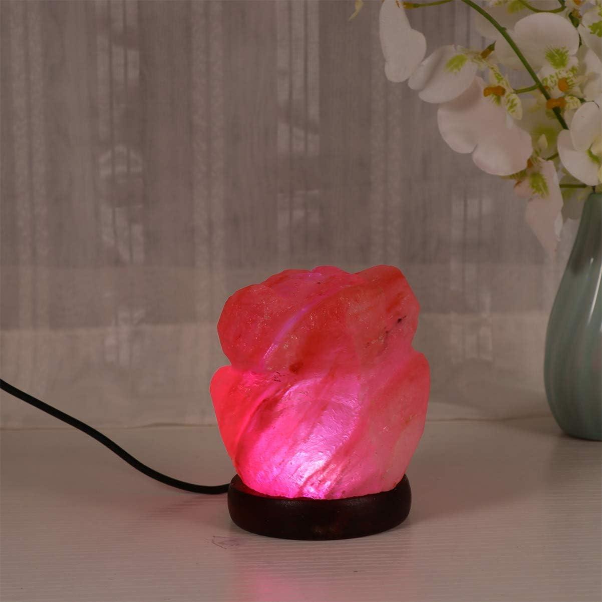 1pcs Uonlytech lampe /à sel rose lampe /à sel rose himalayenne lampes /à sel en cristal pour la maison