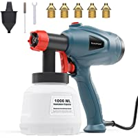 $49 » Xoopon Paint Sprayer, High Power HVLP Spray Gun, with 5 Additional Copper Nozzles & 3…