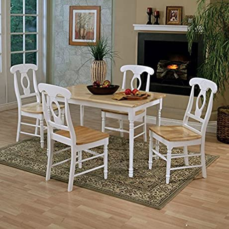 Coaster Damen Napoleon Dining Side Chair In White And Natural