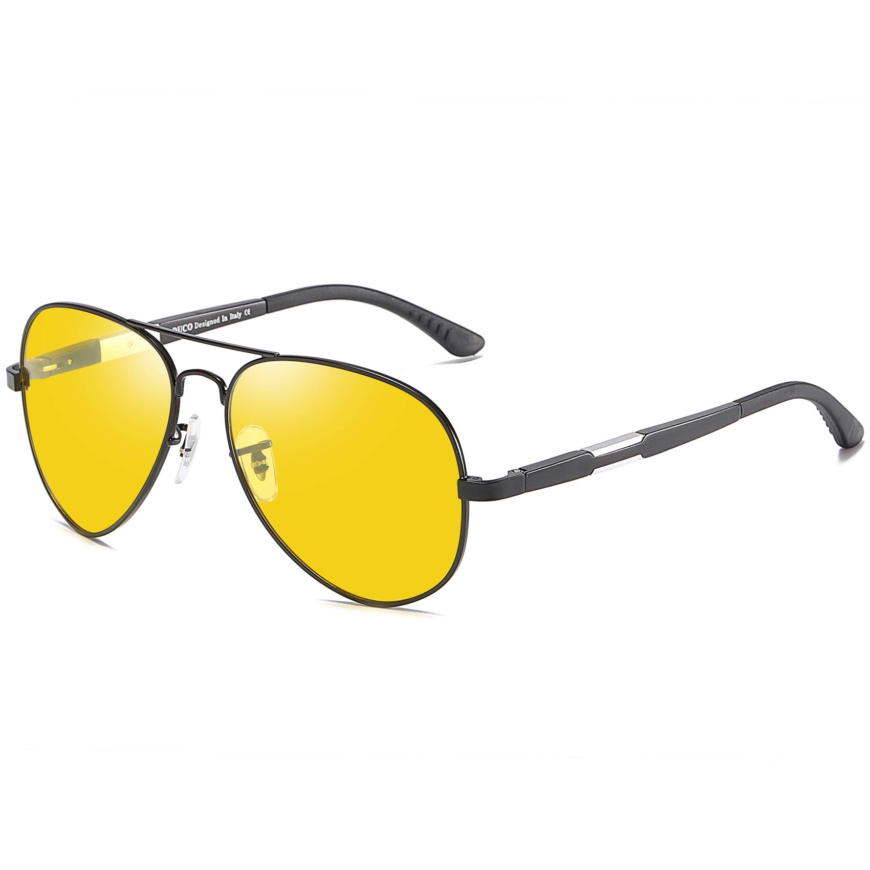 Duco Pilot Style Night Vision Polarized Anti-Glare Glasses For Mens Womens Sports 3026 (Black) by DUCO