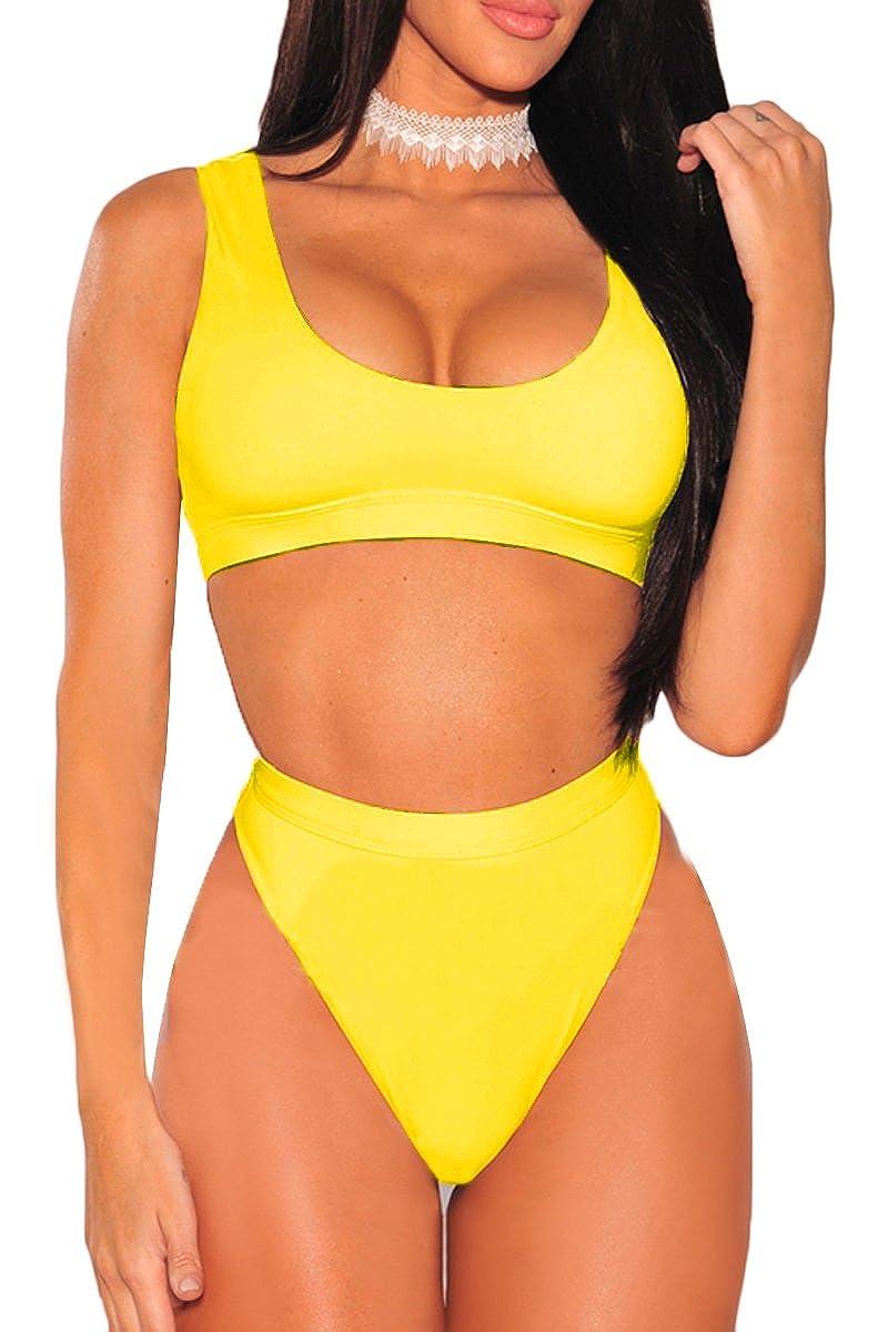 Yellow ESONLAR Women Round Neck Cropped Top High Waist Cut 2PCS Bikini Set Swimsuit