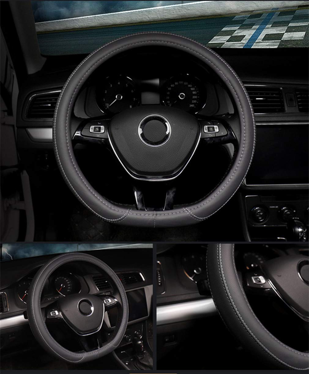 Skidproof Car Steering Wheel Cover Universal 15inch Black, Sheepskin Breathable Coofig Leather Hand Sewing Fashion