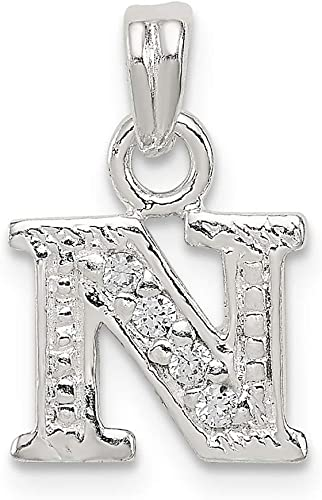 925 Sterling Silver Initial N Shaped Pendant