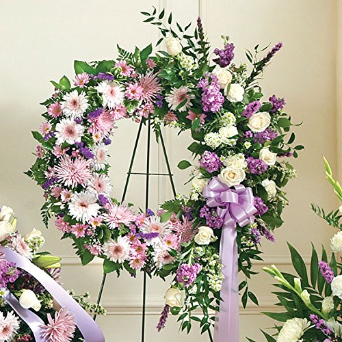 PlantShed - Serene Blessings Standing Wreath - Lavender - Flower Hand Delivery in NYC Local Manhattan Florist Funeral Wreath