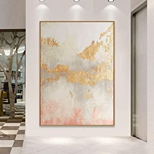 100% Hand-Painted Oil Paintings,Landscape Style, Abstract Gold Foil Pink Decorative Landscape, Painting On Canvas Art, Large Size Home Decor Wall Art, For Bedroom Living Room Bedside Restaurant Painti
