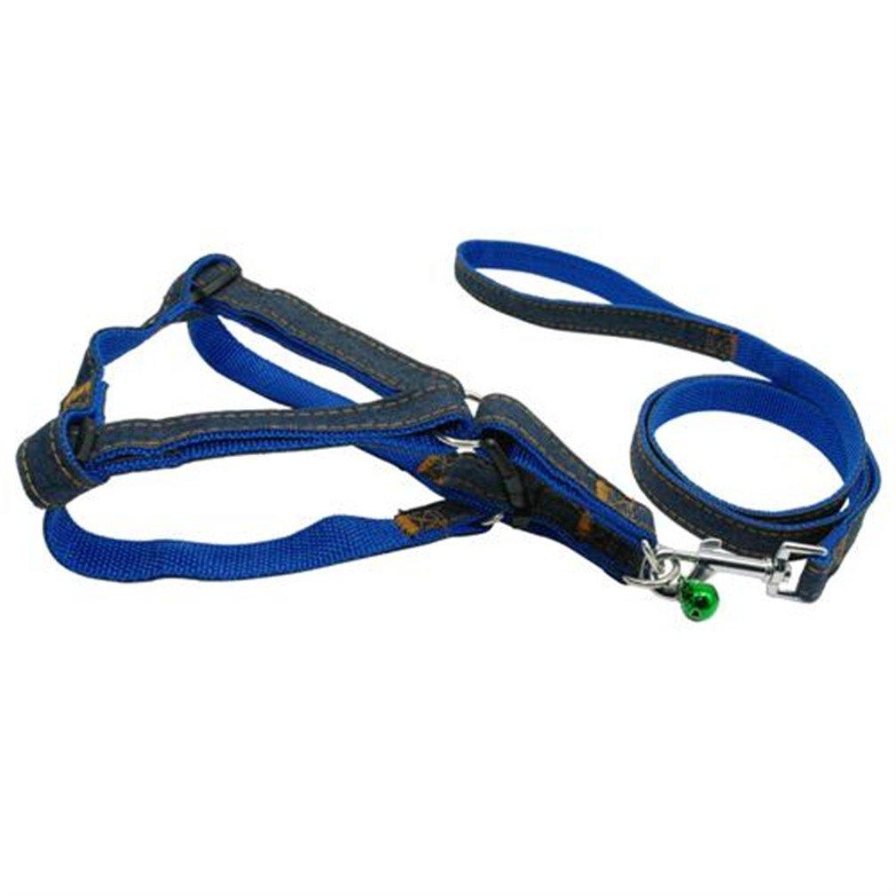 LLOVELYY Adjustable No-Pull Denim Dog Harnesses Leash Collar For Small Medium Large Dog Blue M