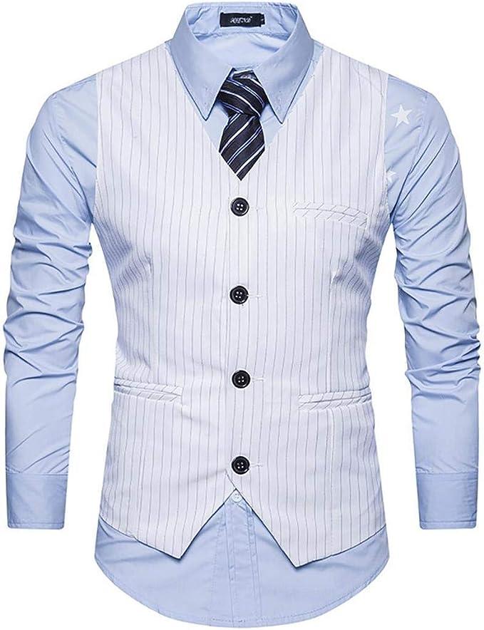 TALLA M (EU. S). Wixens Hombre Chaleco Slim Fit Traje de Vestir Sin Manga Casual V-Neck Blazers