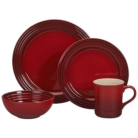 Le Creuset of America PGWSV16-0367 Dinnerware Set, 16 Piece, Cerise Cherry Red