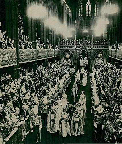 - Vintage photo of Queen Elizabeth II leads the procession out of Westminster Abbey after his crown