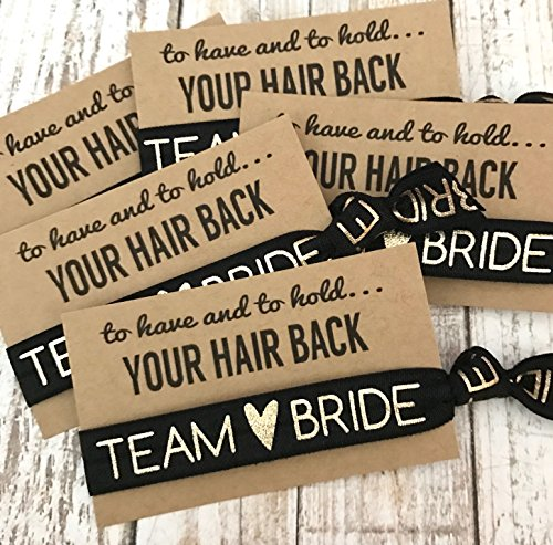 Set of 5 To Have & To Hold Your Hair Back Favors | Team Bride | Bachelorette Hair Tie Favors (Black)