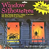 Halloween Window Silhouettes Giant Decorations, 5 Assorted Designs - Spiders, Cats & Bats, Ghost, Skulls, Witch & Skeleton [2 posters per pack] Your Choice.