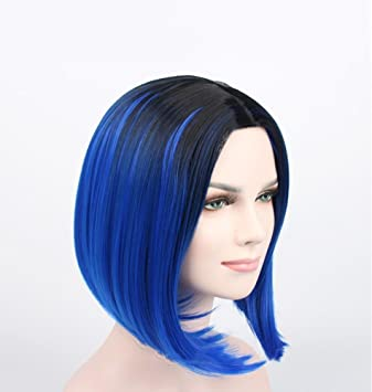 GAIHU Azul corta peluca bob recto Oriente Parting raíces oscuras Sintética Suave fibra de alta temperatura