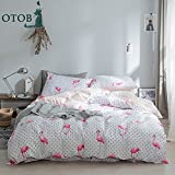 OTOB Cotton New Cartoon Flamingo Pattern Twin Duvet Cover Set for Kids Girls Teens Students Little Dot Gingham Bedding Sets Twin Size with 2 Pillow Shams White Pink (Twin, Style 4)