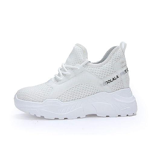 AONEGOLD Zapatillas de Cuña Mujer Zapatillas de Deporte Interior Talón Plataforma Casual Negro Blanco: Amazon.es: Zapatos y complementos