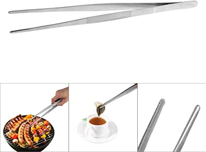 ExcLent Stainless Steel Offset Tweezer Chef Plating Tongs Serving Presentation Rose Gold