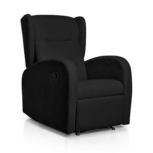 Sueños ZZZ | Sillon relax reclinable HOME tapizado tela antimanchas negro | Sillon reclinable butaca relax | Sillon orejero individual salon | Butaca ...