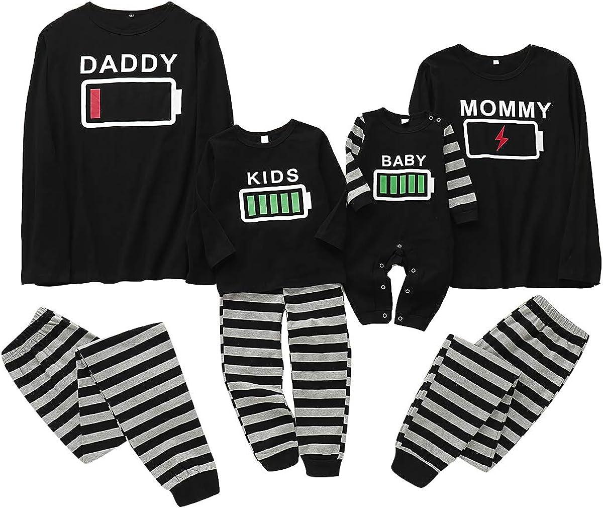 puseky Conjunto de Pijamas de Ropa Familiar a Juego Ropa de Dormir con Estampado de batería Ropa de Dormir para papá mamá Niños bebé