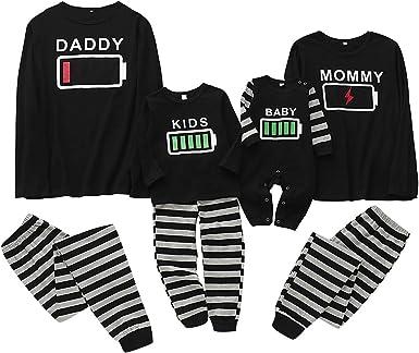 Haokaini Christmas Family Matching Pajamas Set Battery Nightwear Pajamas Set for Women Men Kid Baby