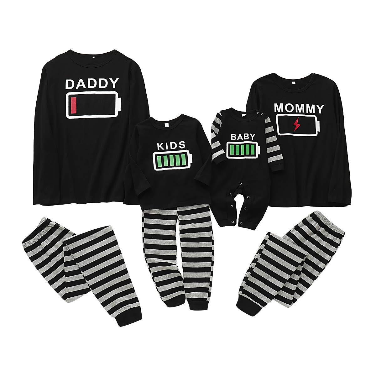 Haokaini Weihnachten Familie passenden Pyjamas Set Batterie Nachtw/äsche Pyjamas Set f/ür Frauen M/änner Kind Baby