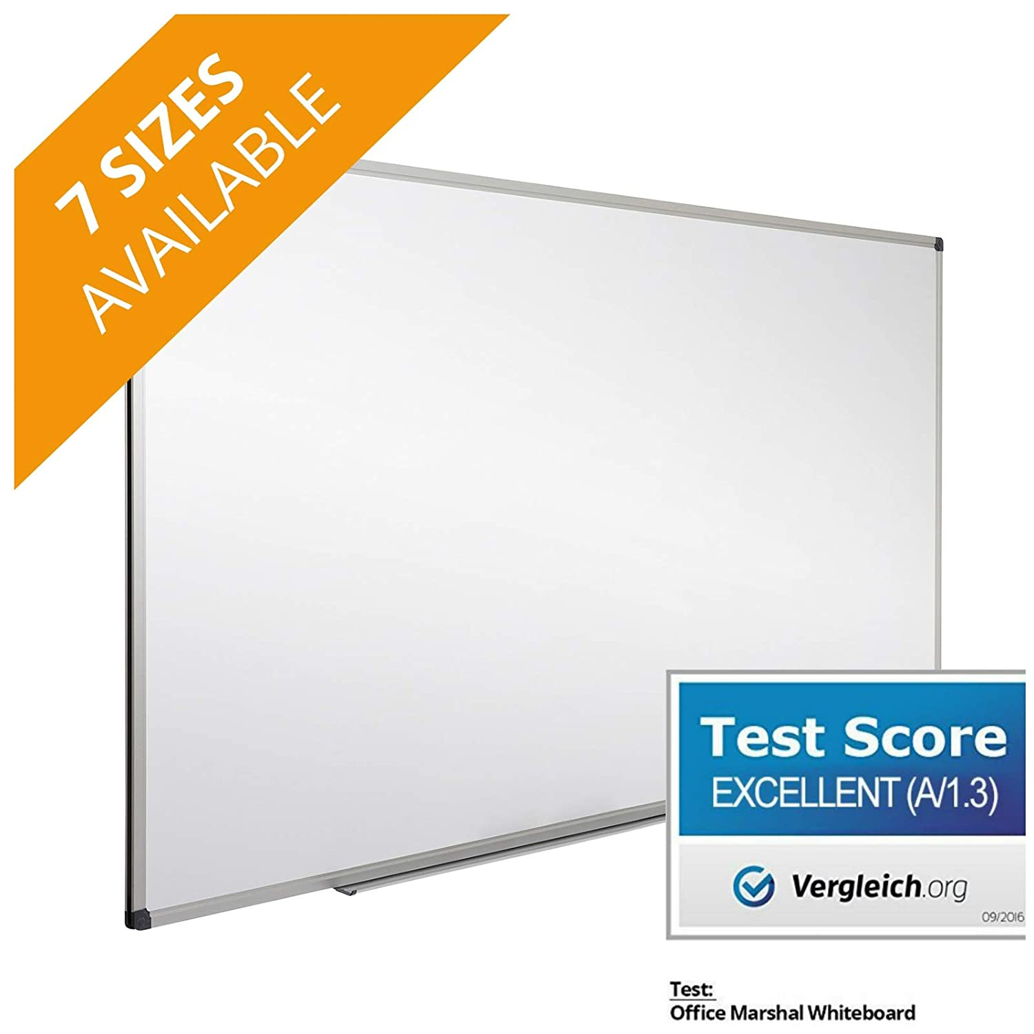 Office Marshal Professional Magnetic Dry Erase Board | White Board | Test Score: Excellent (A/1.3) - 18' x 12' 4058171282813