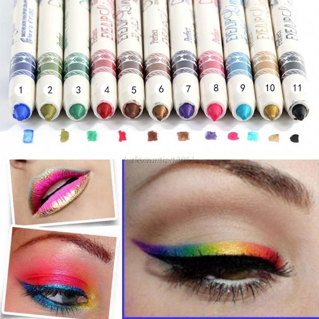 LOVM 12 Pcs PROFESSIONAL Cosmetic Makeup Eyeliner Eye / Lip Liner GLITTER Pencil Set by Saver Emporium© LOVM©
