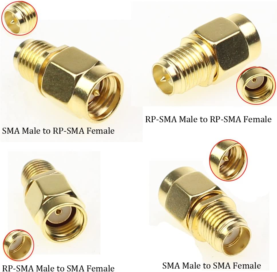 exgoofit SMA Connector Kits Set 18 in 1 Adapter SMA RP SMA Male and Female RF Coax Coupling Nut Barrel Connector Converter for WiFi Antenna//FPV Drone//Extension Cable