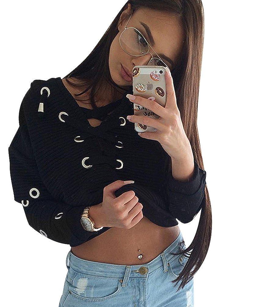 ISSHE Sudaderas Cortas Mujer Sudadera Cuello V Chica Oversize Pullover Juveniles Camisas Camisetas Manga Larga Chicas Anchas Grandes Invierno Suéter Jersey Vintage Casual Crop Top Deportivas