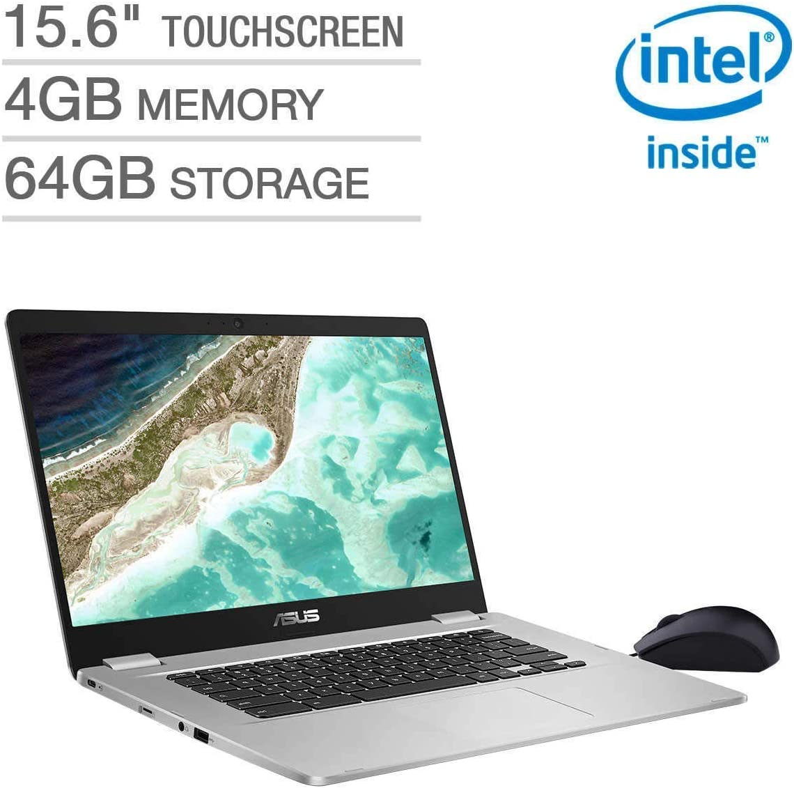 "2019 Asus 15.6"" FHD Touchscreen Thin and Light Chromebook Laptop Computer, Intel Quad-Core Pentium N4200 up to 2.5GHz, 4GB DDR4 RAM, 64GB eMMC, 802.11ac WiFi, Bluetooth 4.0, USB 3.1, Chrome OS"