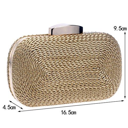 Amuele YM1013 Evening Clutches Knitted Evening Handbag Straw Bolsas Weaving Women For Party Bag Purse 05 Wallet gUSqrgTCw